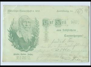 W8Z73/ Hamburg Gut Heil Fr. L. Jahn Turnerschaft Turnen AK 1899