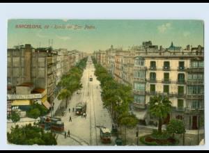 P3T69/ Barcelona Ronda de San Pedro Straßenbahn AK 1917 Spanien