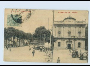 P3T68/ Barcelona Rambla de Sta. Monica AK 1913 Spanien