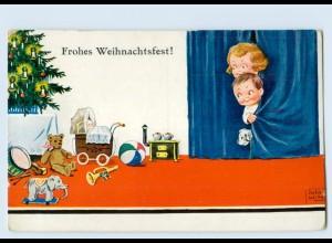 P4B79/ Weihnachten Kinder Spielzeug Teddy AK John Wills ca.1928