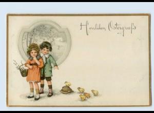 P4B89/ Ostern Kinder und Küken Litho AK Meissner & Buch 1918