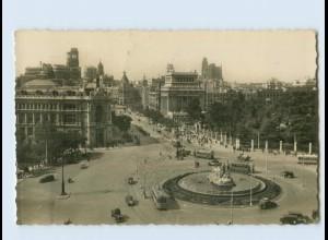 B792/ Spanien Madrid La Cibeles Banco de Espana y calle de Alcalá 1948 AK