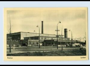 P4G97/ Leiden Station Bahnhof AK ca.1960