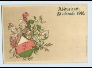 C137-4200/ Abiturientia Sterkrade 1913 Obernhausen Litho AK Studentika