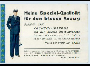 D448/ Reklame AK der blaue Anzug, Yachtclubserge 1936