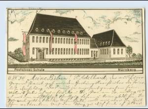 W9L35/ Nürnberg-Gartenstadt Pestalozzi-Schule AK 1934