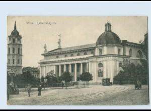 D773/ Wilna Kathedral-Kirche Pferdebahn Litauen 1916