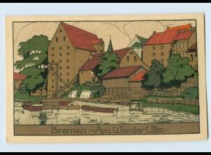 E518/ Bremen Am Werder Ufer Steinzeichnung Litho AK 1923