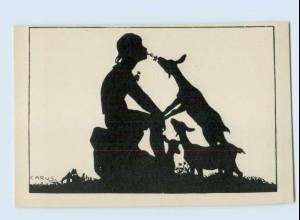 E778/ Berliner Tierschutz-Verein AK Carus Schattenbild Junge und Rehe