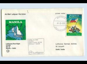 W9V62/ Ersttagsbrief Lufthansa LH645 DC 10 Manila - Dehli 1982