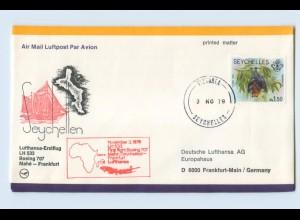 W9V75/ Ersttagsbrief Lufthansa LH 533 Boeing 707 Mahe - Frankfurt 1979