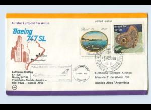 W9V67/ Ersttagsbrief Lufthansa LH 508 Boeing 747 Frankfurt - Buenos Aires 1980