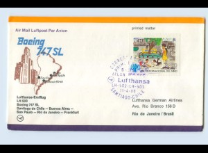 W9V70/ Ersttagsbrief Lufthansa LH 503 Santiago de Chile - Frankfurt 1980