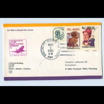 W9V71/ Ersttagsbrief Lufthansa LH 439 DC 10 Dallas - Atlanta - Frankfurt 1980