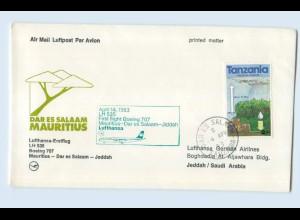 W9V72/ Ersttagsbrief Lufthansa LH 535 Boeing 707 Mauritius - Jeddah 1983