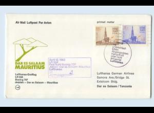W9V73/ Ersttagsbrief Lufthansa LH 534 Boeing 707 Jeddah - Mauritius 1983