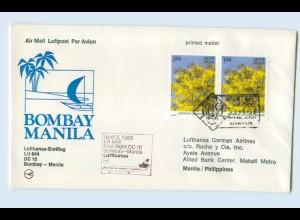 W9V74/ Ersttagsbrief Lufthansa LH 644 DC 10 Dombay - Manila 1983