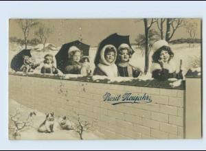 X1K33/ Neujahr Mädchen mit Puppe Katzen Fotomontage Foto AK 1912