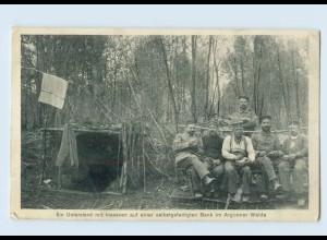 F822/ Soldaten am Unterstand im Argonnerwalde AK 1. Weltkrieg 1915