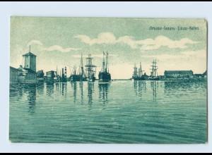 F957/ Libau Hafen Lettland Litho AK 1915 + Schiffspost Nr. 104