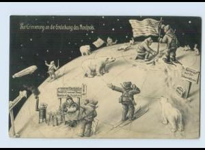 X1C75/ Entdeckung des Nordpols USA Flagge Eisbären AK