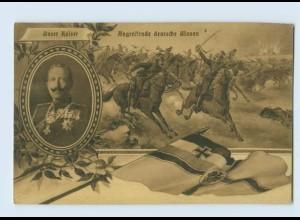 G112/ Kaiser Wilhelm Angreifende deutsche Ulanen 1. Weltkrieg AK