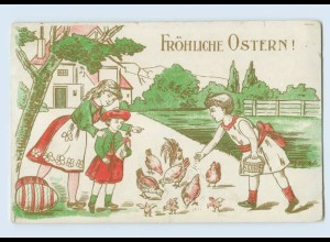 W9Z22/ Ostern KInder füttern Hühner und Küken Prägedruck AK 1912