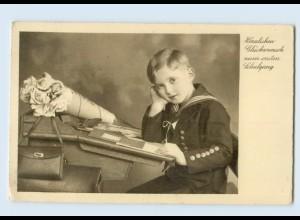 X1A89/ Schule Einschulung Schultüte AK ca.1940