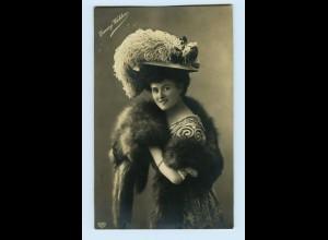 T1214/ Hutmode Emmy Wehlen mit Hut und Pelzstola schöne Foto AK 1909