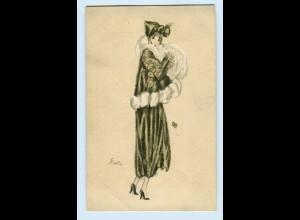 T1208/ Mode Frau im Pelzmantel Pelzstola Künstler AK E. Kurt ca.1920