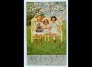 T1193/ Mädchen mit Puppe Künstler AK Franzsika Schenkel Volkskunstbund ca.1912