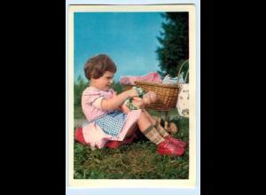 T1196/ Mädchen mit Puppe und Puppenwagen AK ca.1960