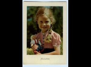 T1195/ Mädchen mit Puppe ca.1950 AK