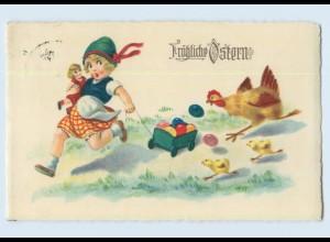 H304/ Ostern Mädchen mit Puppe Huhn Küken AK 1930