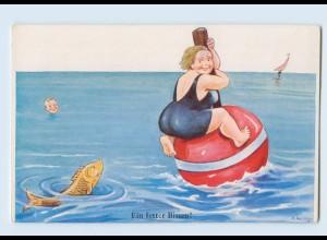 X1F42/ Badeleben dicke Frau J. Wills Humor AK ca.1955