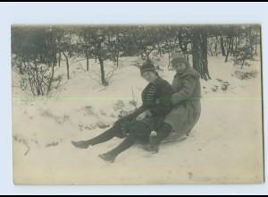 X1F52/ Kinder rodeln Schlitten Privat Foto AK ca.1925