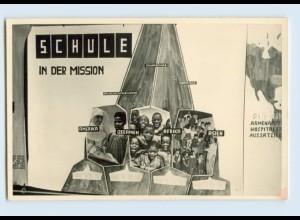 X1H32/ Schule in der Mission Foto AK ca.1955