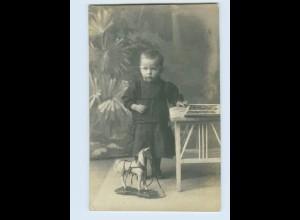 X1G16/ Kleiner Junge Holzpferd Spielzeug Privat Foto AK ca.1920