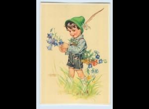 X1G05/ Lungershausen AK Junge mit Blumen