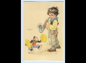 X1G03/ Lungershausen AK Kind mit Saxophon und Affe