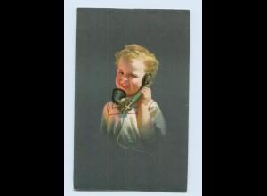 Y932/ Kind telefoniert Telefon schöne Künstler AK ca. 1920