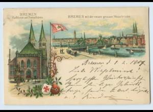 N1951-2800/ Bremen Rathaus Dom Große Weserbrücke Wappen Flagge Litho AK 1901