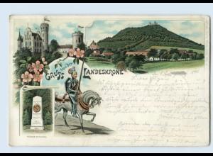 N2263-028./ Görlitz Gruß von der Landeskrone Denkmal Ritter Pferd Litho AK 1896