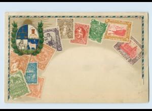 K057/ Uruguay Briefmarken Litho AK ca.1900