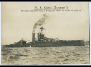 X1H70/ M.S. König Georges V. engl. Kriegsschiff Elektra Foto AK 17,5 x 12,5 cm