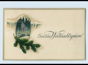 X1H53/ Weihnachten Glocke Litho Prägedr. AK 1920
