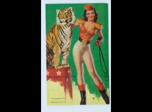 I1988/ Pin Up Erotik Mutoscope Card 1948 Zirkus Tiger Dompteuse