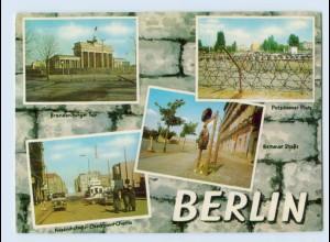 K153/ Berlin Die Mauer DDR Grenze Bernauer Str., Checkpoint Charlie AK ca. 1970