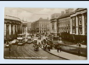 K454/ Dublin Trinity College Straßenbahn Autos Foto AK ca.1920 Irland