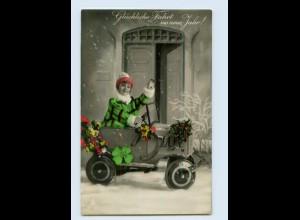 K522/ Neujahr Foto AK Kind im Spielzeugauto 1931